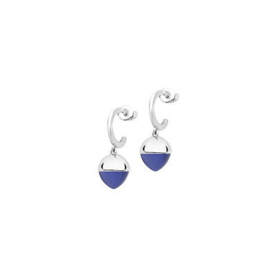 Crescent earrings with tanzanite colored crystals