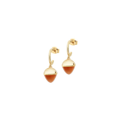 Crescent earrings with carnelian-colored crystals