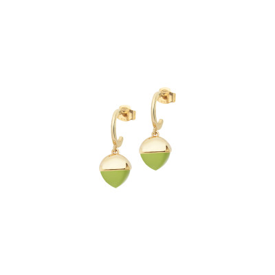 Crescent earrings with olivine crystals