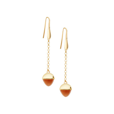 Hook earrings with carnelian-colored crystal
