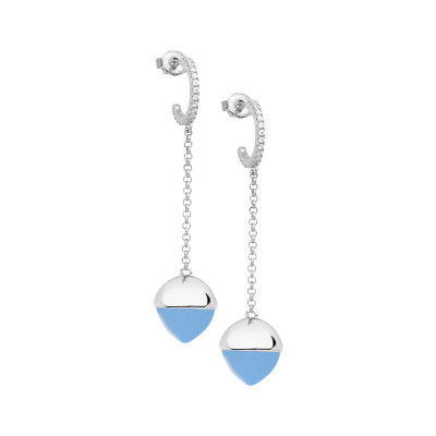 Crescent earrings with zircons and chalcedony-colored crystal