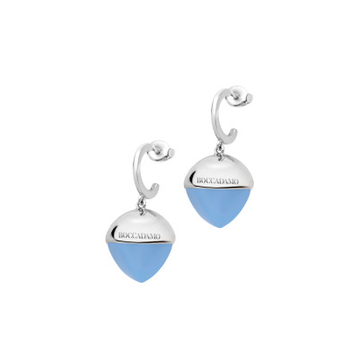 Crescent earrings with large chalcedony crystal