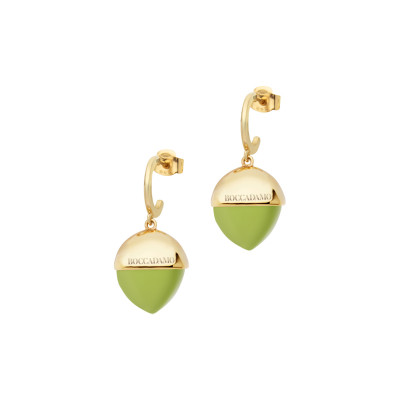 Crescent earrings with large olivine-colored crystal