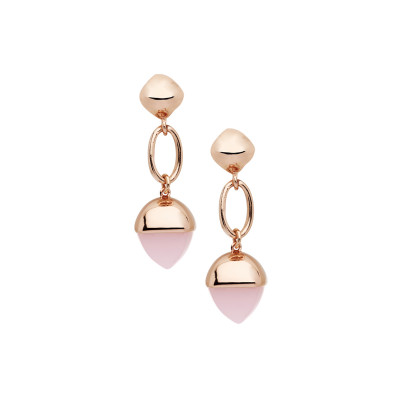 Earrings with large crystal pendant in rose quartz color