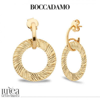 Yellow gold plated earrings with diamond effect