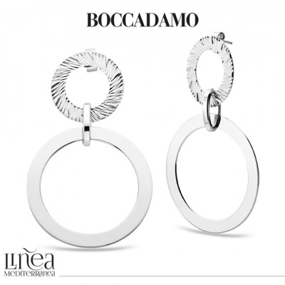 Rhodium-plated earrings with circles