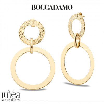 Yellow gold plated earrings with circles