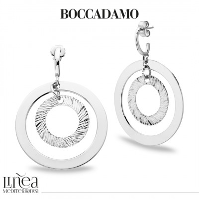 Rhodium-plated concentric earrings