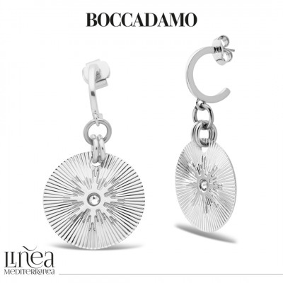 Rhodium-plated pendant earrings with Swarovski
