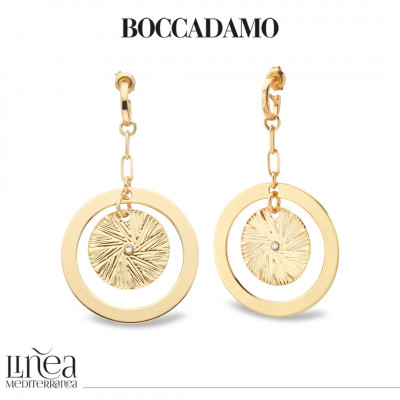 Yellow gold plated earrings with concentric pendant and Swarovski