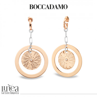 Two-tone earrings with concentric pendant and Swarovski