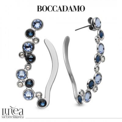 Leaf earrings with Swarovski crystal, light sapphire and montana