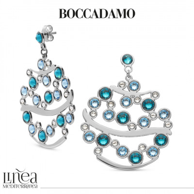 Pendant earrings with Swarovski crystal, aquamarine and blue zircon