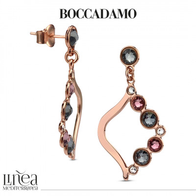 Earrings with Swarovski crystal, antique pink and silver night
