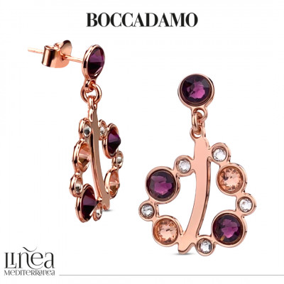 Earrings with Swarovski crystal, light peach and amethyst