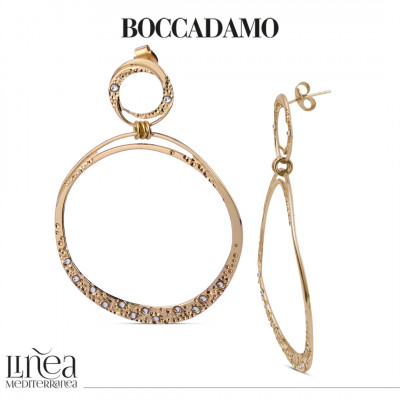 Yellow gold-plated large hoop earrings with Swarovski