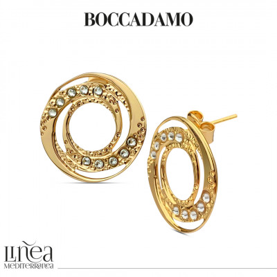 Yellow gold plated earrings with concentric decoration and Swarovski