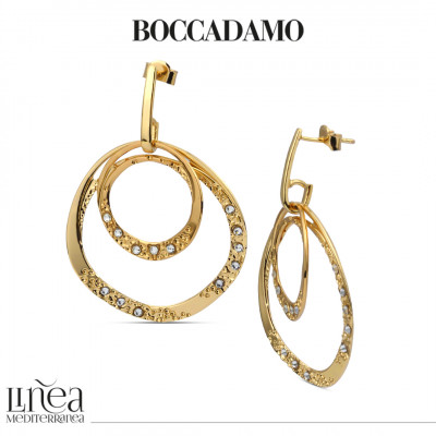 Double hoop earrings plated yellow gold mobile with Swarovski