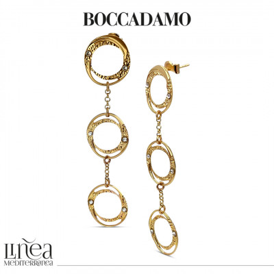 Yellow gold plated pendant hoop earrings with Swarovski