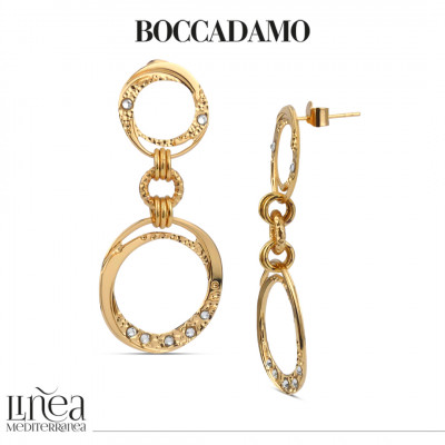 Yellow gold plated earrings with dangling circles and Swarovski