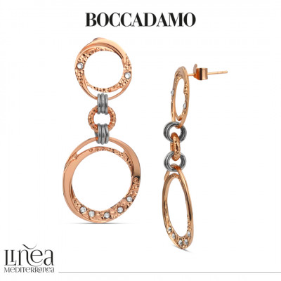 Rose gold plated earrings with dangling circles and Swarovski