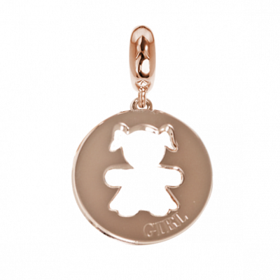 Rose charm with a profile of perforated girl