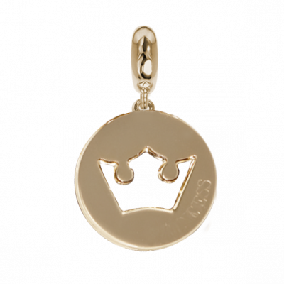 Golden charm with crown profile perforated