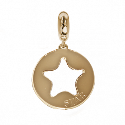 Golden charm with a profile of perforated star