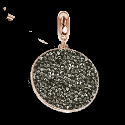 Rose charm with carpet Swarovski metallic silver