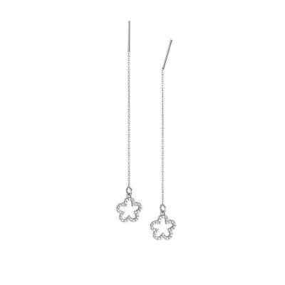 Earrings latch with flower of zircons
