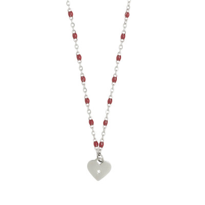 Rhodium-plated necklace with enameled red and zircon elements