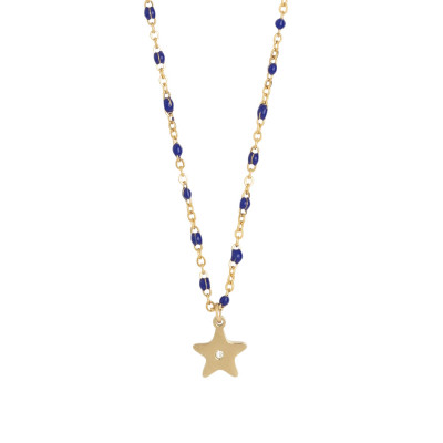 Rosé necklace with enamelled elements in blue and zircon