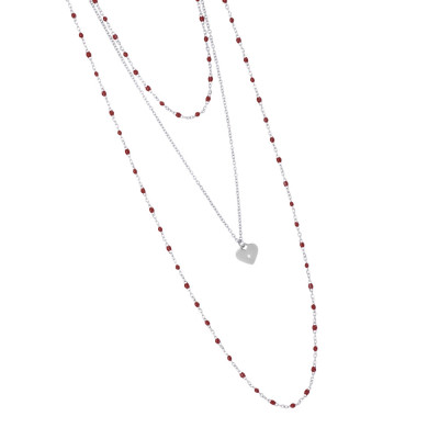 Multi-strand rhodium-plated necklace with red and pendant enamel