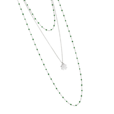 Multi-strand rhodium-plated necklace with emerald-green enamel and pendant