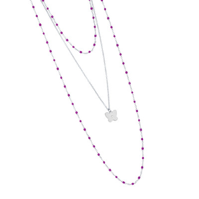 Multi-strand rhodium-plated necklace with fuchsia and pendant enamel