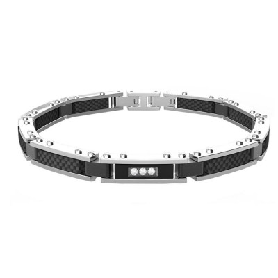 Modular bracelet in white steel with carbon fiber and zircons