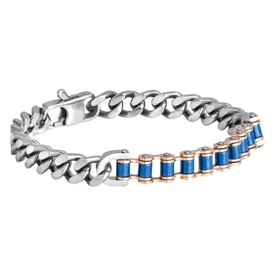 Steel Bracelet grumetta mesh and chain biker blue enamel