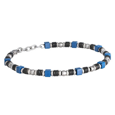 Steel Bracelet and blue ceramic tiles