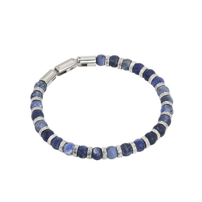 Steel bracelet and sodalite