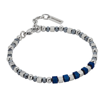 Bracelet with gray and blue hematite
