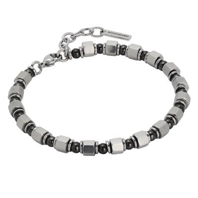 Bracelet with cubes of steel and gray pvd