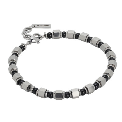 Bracelet with cubes of steel and black pvd
