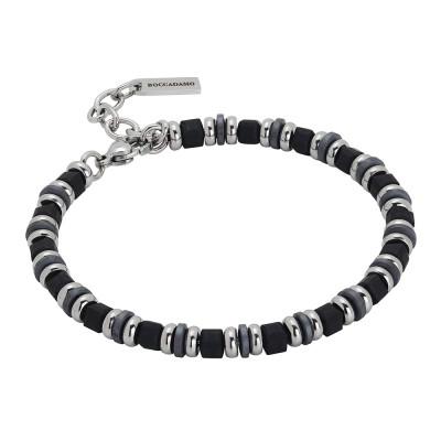 Steel bracelet and black hematite