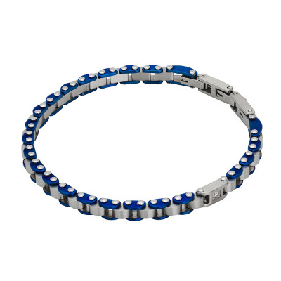Carved knitted bracelet in blue pvd and zircon