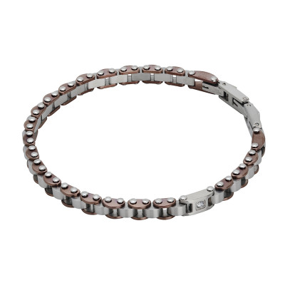 Carved knitted bracelet in brown pvd and zircon