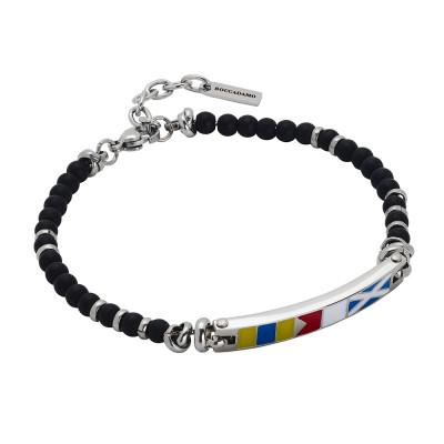 Steel bracelet with onyx spheres and enamelled plate