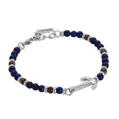 Bracelet with tiger's eye and blue lapis lazuli