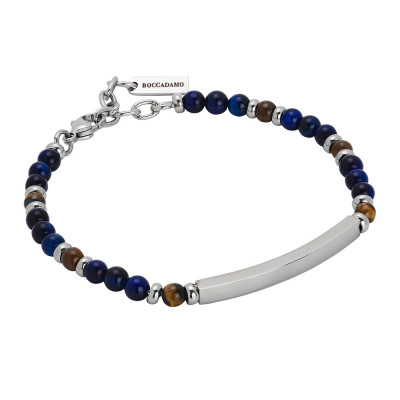 Bracelet with blue lapis lazuli and rhodium-plated central plate