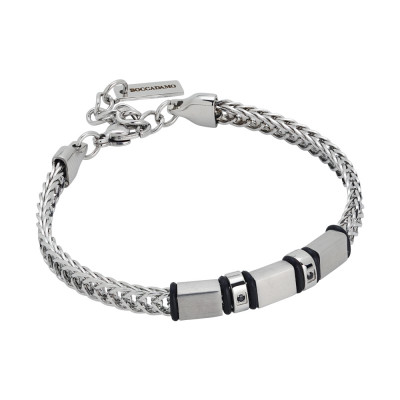 Rhodium plated bracelet with cubic zirconia and black pvd