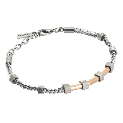Bracelet in steel and pink pvd